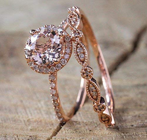 Rose Gold Morganite and Diamond Wedding Ring Set