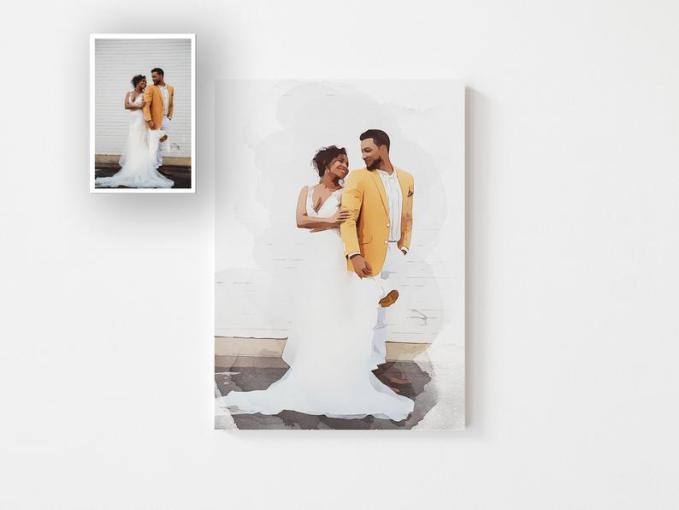 Custom Watercolor Wedding Portrait