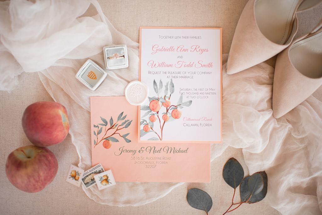 Jacksonville Florida Styled Shoot Wedding Portfolio St Augustine Shootout Peach Wedding Flatlay