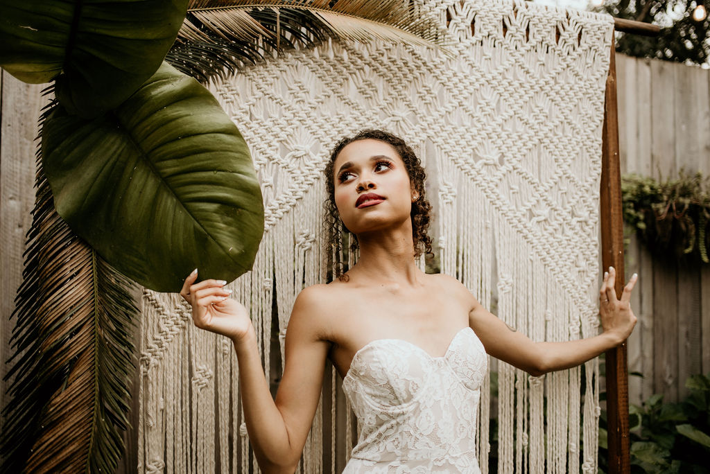 styled shoot Boho rental gown
