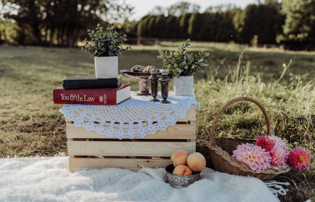 picnic prop with flowers and crate rustic style
