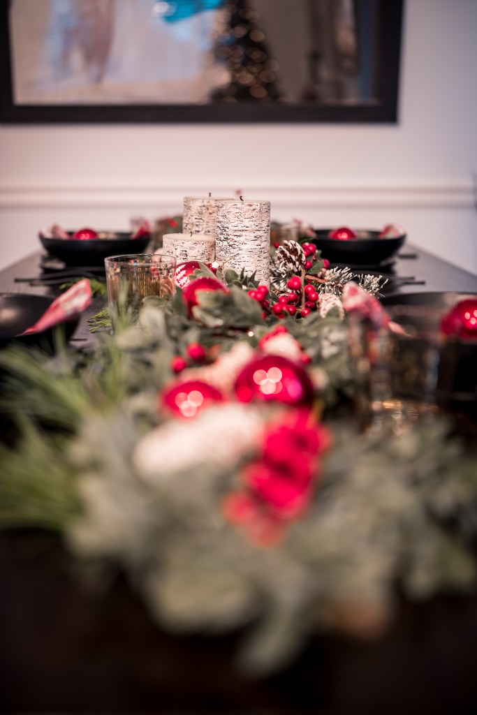 holiday table decor plaid and black and red