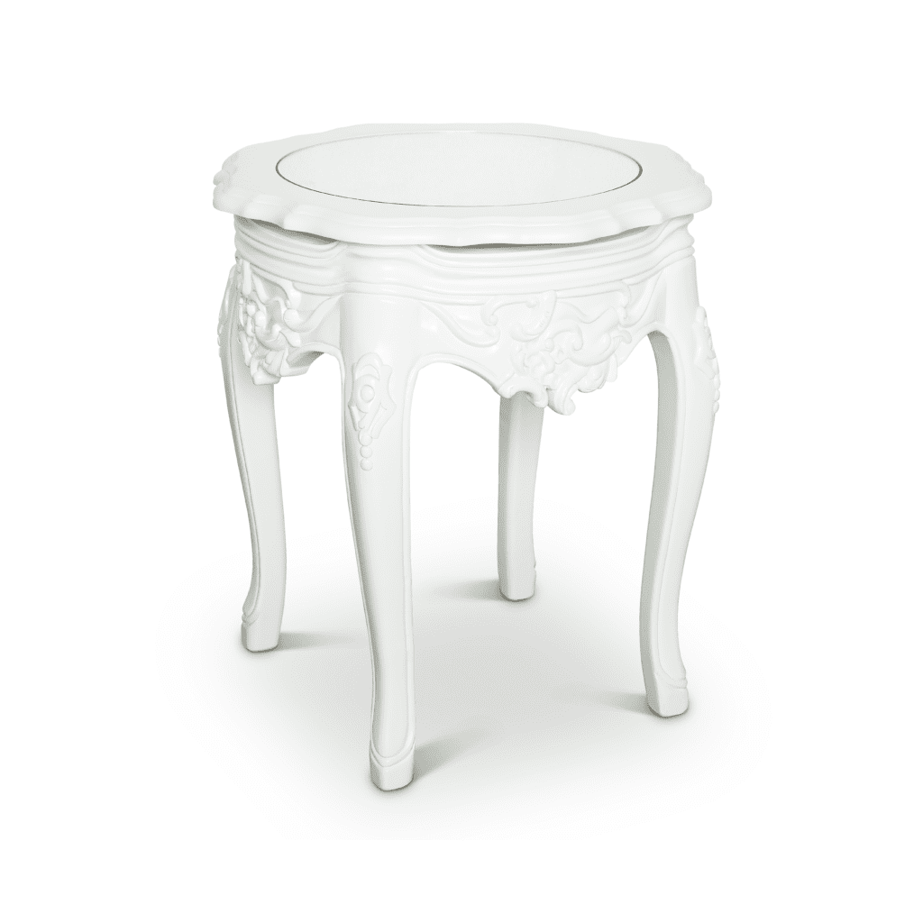 White Victorian Side Table Glam Party Rentals