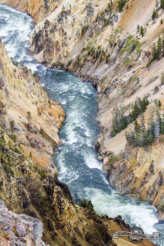 Yellowstone river flowing throughout the Yellowstone Canyon.