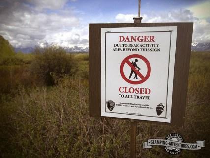 Bear warning sign at Grand Teton NP.