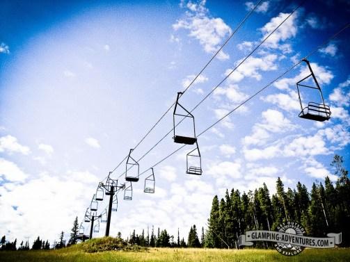 Chairlifts waiting patiently for winter. Eldora Ski Resort.