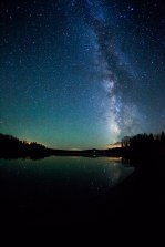 Night time sky over the lake. Steamboat Lake, CO.