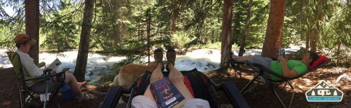 Lazing around the campsite. Gore Creek CG, Vail CO.