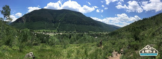 View of Vail from atop the beginning of the trail. Booth Falls, Vail CO.