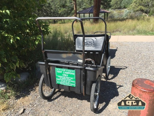 Cart for taking your gear into the tent sites. Pa-Co-Chu-Puk Campground. Ridgway S.P.