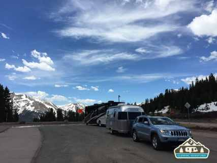 Plenty of parking space at the top of Berthoud Pass, CO.