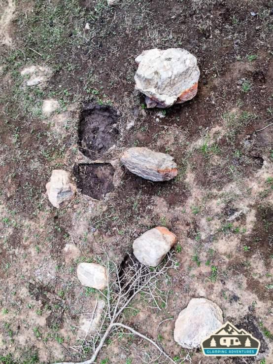Rolled rocks from bears foraging. Near Arapaho Bay, CO.