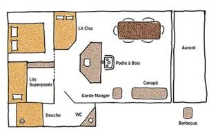 Plan de la Noble Tente avec salle de bain privative au glamping le Domaine de Villiers à Chassy en Centre Val de Loire