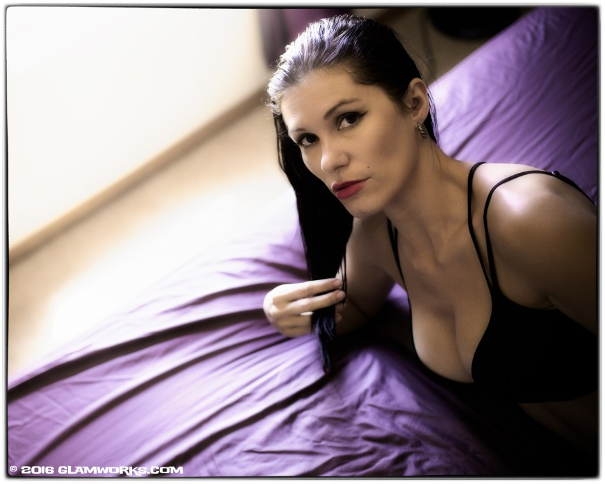 """Purple Sheets"" with model Jennifer Arlene ©2016 by Jeff Falls for Glamworks.com"