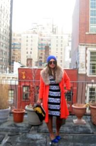 orange boucle coat