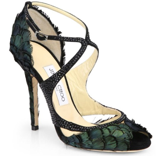 Jimmy Choo Kamelia Shimmer Feather Sandals