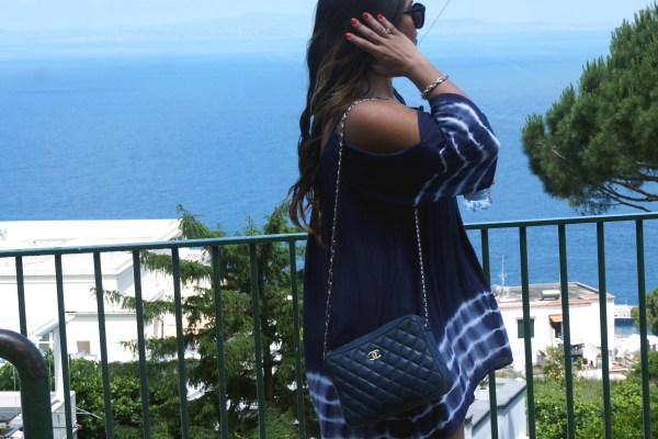 Vintage navy blue chanel bag