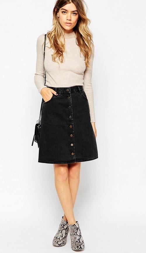 ASOS PETITE Denim Polly A-Lline Button Midi Skirt in Washed Black