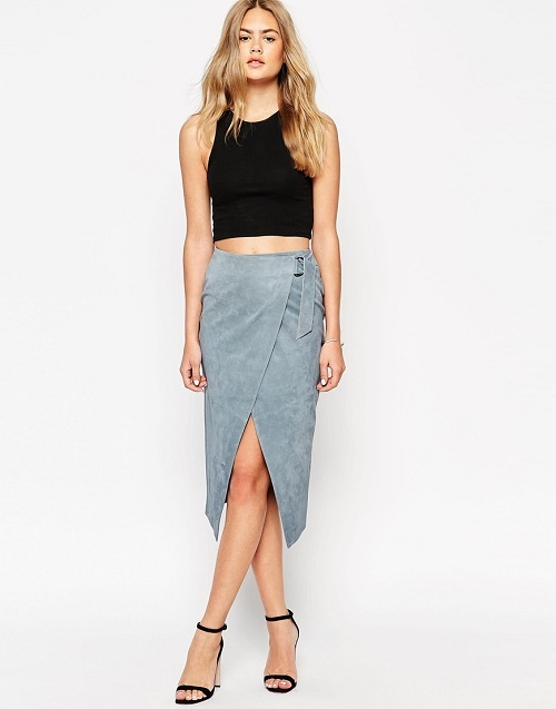 asos wrap pencil skirt in suede with d ring