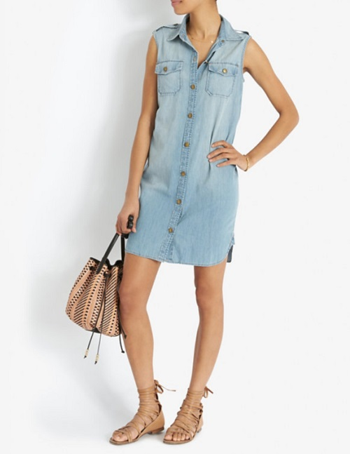 current elliott sleeveless denim shirtdress