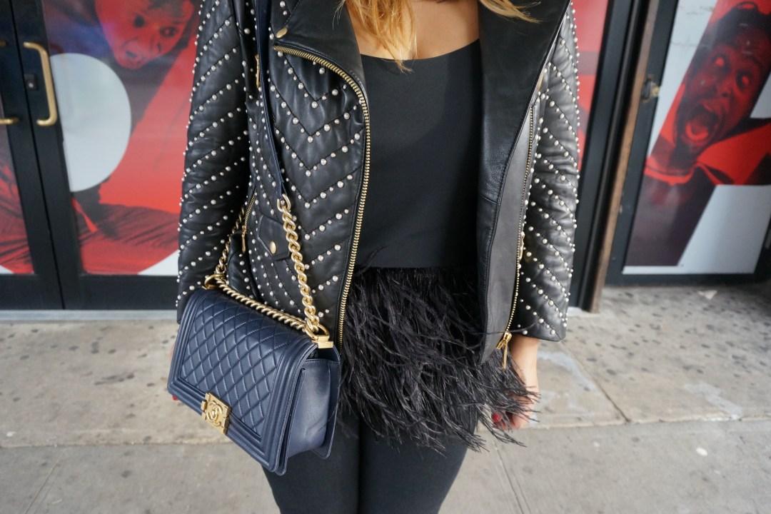 Rebecca Minkoff Wes Pearl Embellished Moto Jacket