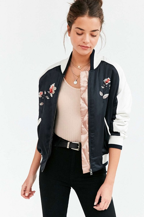 Silence and Noise Stays On Tour Satin Bomber