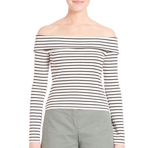 Derek Lam 10 Crosby Striped Off-The-Shoulder Top