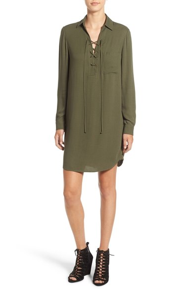 Wayf Lace-Up Shirtdress