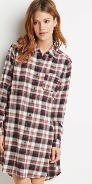 forever-21-contemporary-high-slit-plaid-flannel-tunic