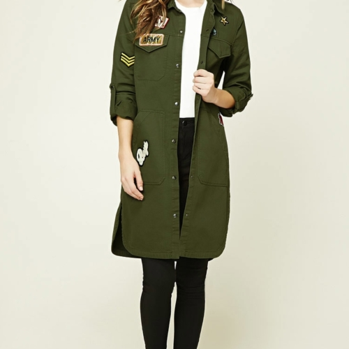 Forever 21 Longline Patched Utility Jacket