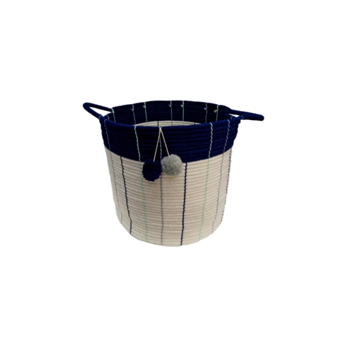 Pillowfort Navy Pom Pom Storage Basket