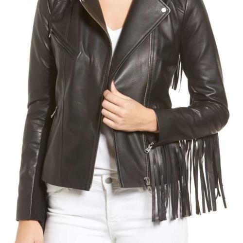 Trouve Fringe Moto Jacket