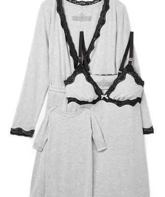 Rosie Pope Women's Nursing Slip, Wrap & Baby Gown Set