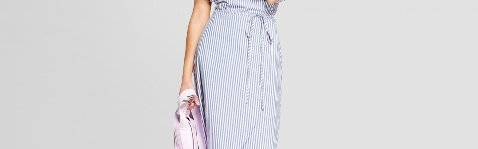 A New Day Striped Cold Shoulder Ruffle Dress