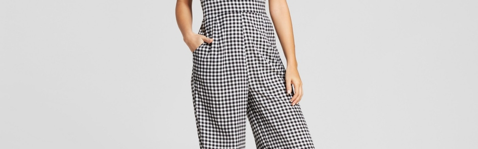 Gingham Strappy Front Cropped Jumpsuit