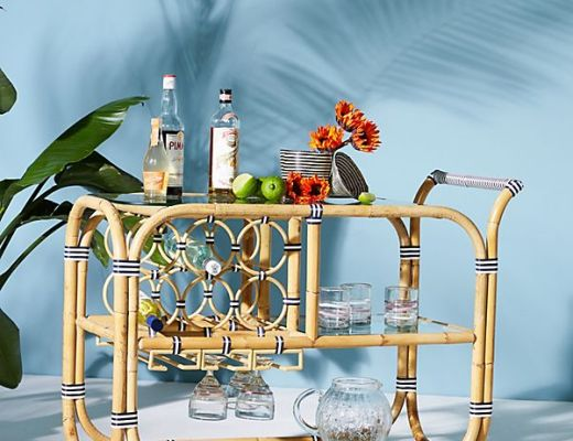 Wrapped Rattan Indoor Outdoor Bar Cart