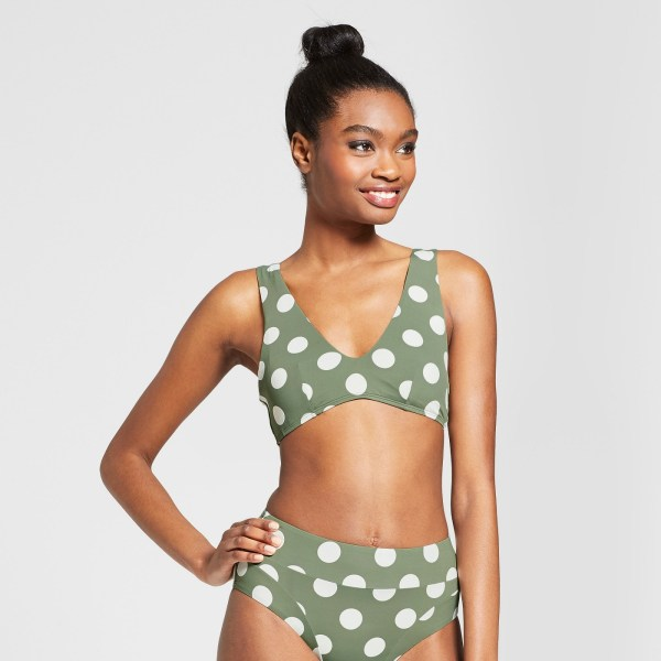 Sunn Lab Swim Women's Polka Dot Bralette Bikini Top - Moss Pearl