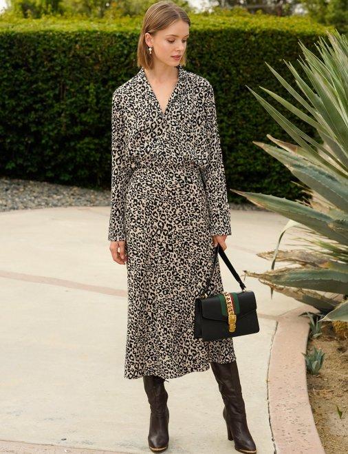 Rene Leopard Silky Midi Skirt