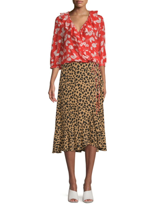 Rixo Silk Gracie Leopard Wrap Midi Skirt