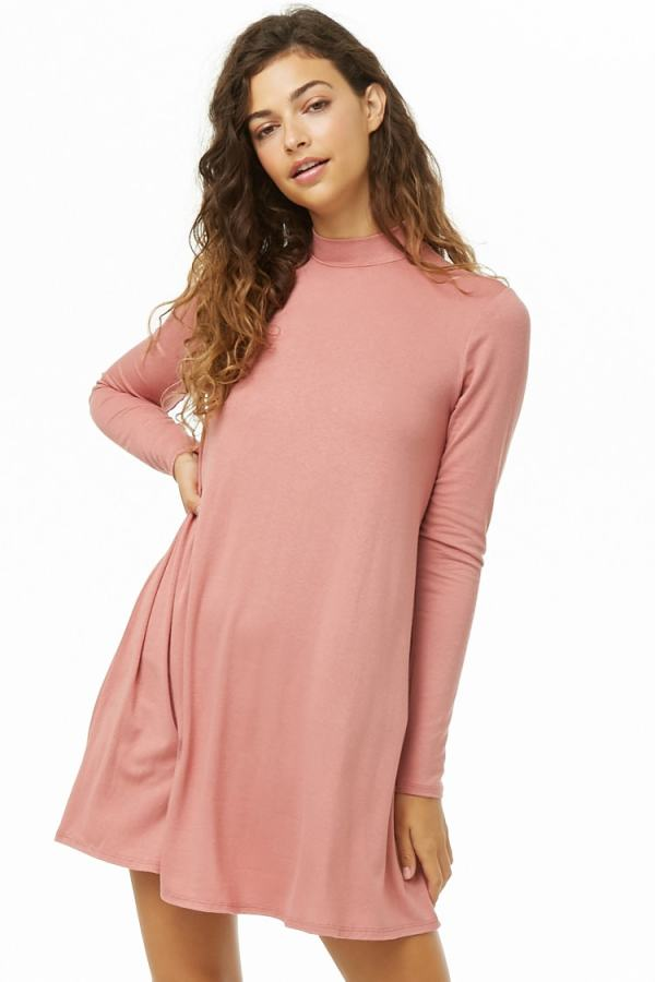 forever 21 mock neck swing dress