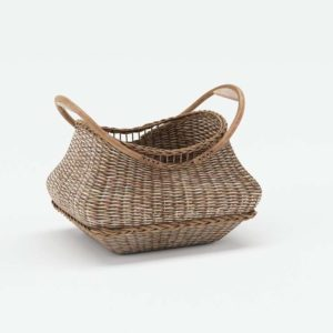 Jacquelyne Wood Handled Basket Pottery Barn
