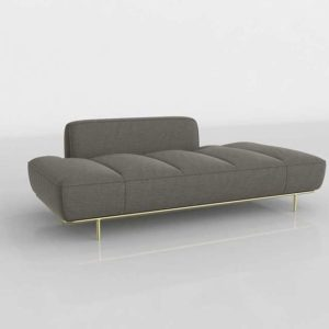 CB2 Lawndale Pewter Daybed Brass Base Angel Pewter