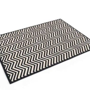 Ballard Black With Sand Chevron Stripe Rug