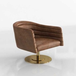 CB2 Cupa Saddle Leather Swivel Base Chair