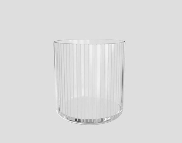 CB2 Pinstripe Etched Double Old Fashioned Glass