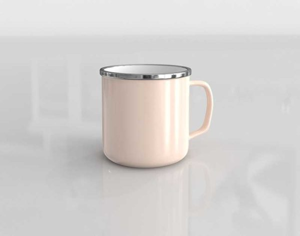 CB2 Large Light Pink Enamel Mug