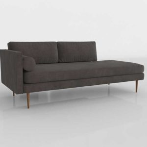 Westelm Monroe Left Arm Chaise Lounger Velvet Otter