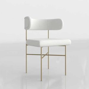 InteriorDefine Audrey 3D Dining Chair Swan Cloth And Brass Legs