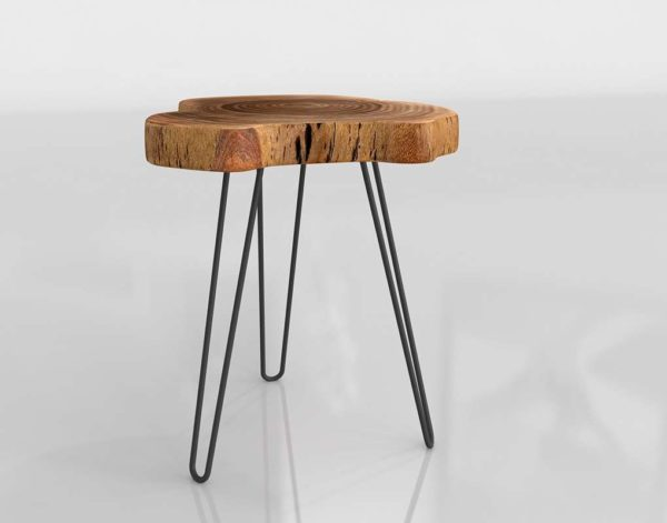 3D Side Table Kirkland Acacia Wood