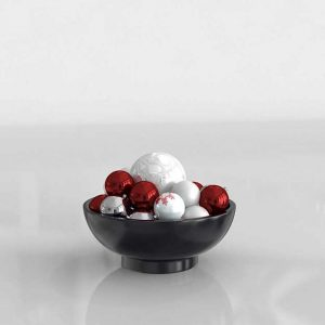 3D Bowl with Christmas Ornaments
